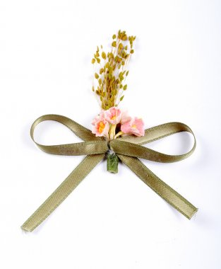 Green ribbon with pink flowers
