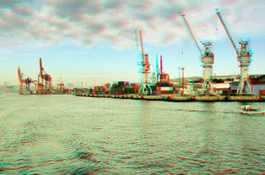 3D anaglyph of Istanbul Port.