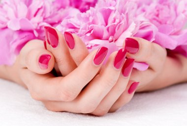 Pink manicure and flower