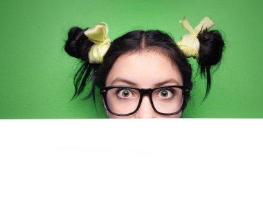 Girl with presentation board