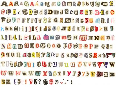 Colorful alphabet with letters torn from newspapers and magazines stock vector
