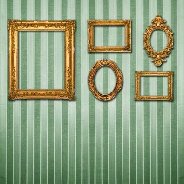 Gold ornate frames & retro wallpaper