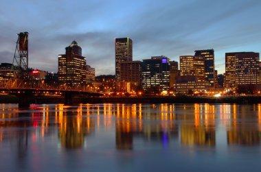 Portland Oregon skyline at dusk.