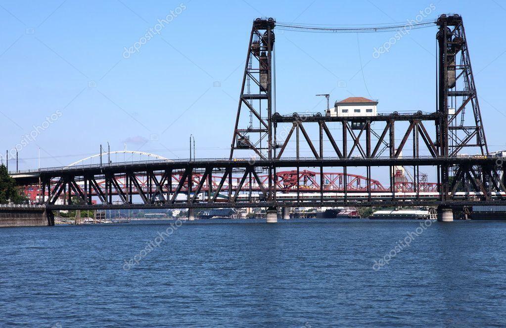 The steel bridge a busy thoroughfare, Portland OR.