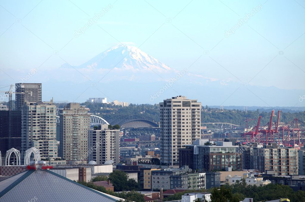 Mt. Rainier & dwellings high rises Seattle WA.