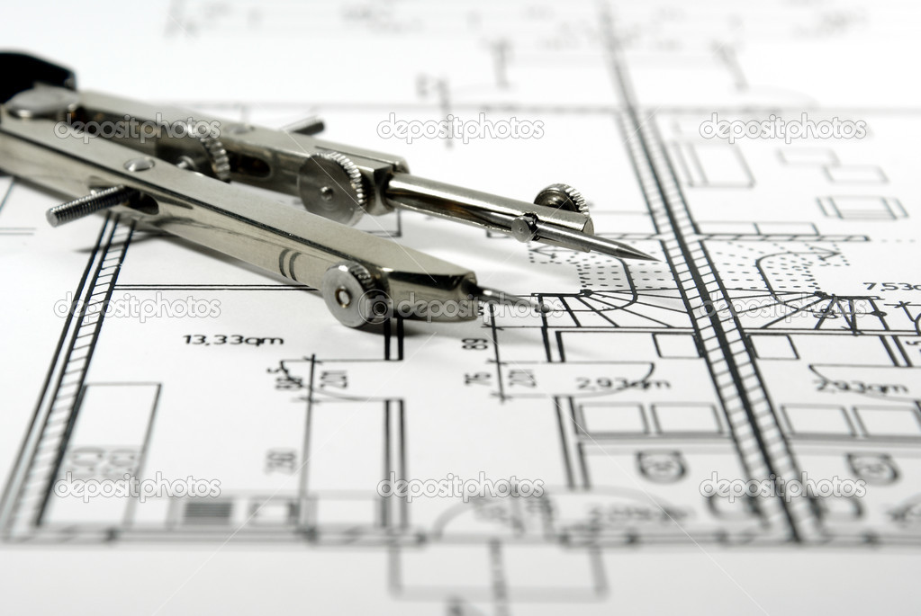 Architectural drawing and tool stock photo rhombur for Architecture drawing tools