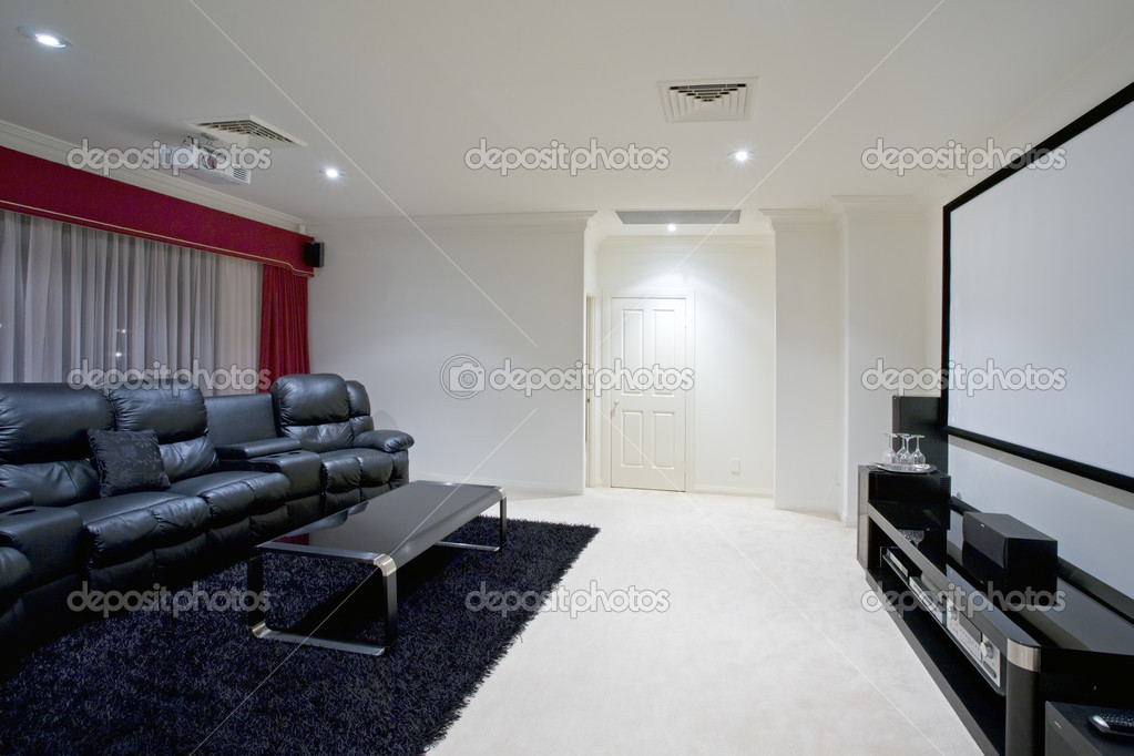 Home Theatre Room Stock Photo Image, Theatre Room Furniture