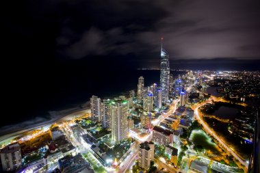 Night scene of the gold coast with q1