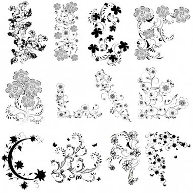 black and white flowers angle set