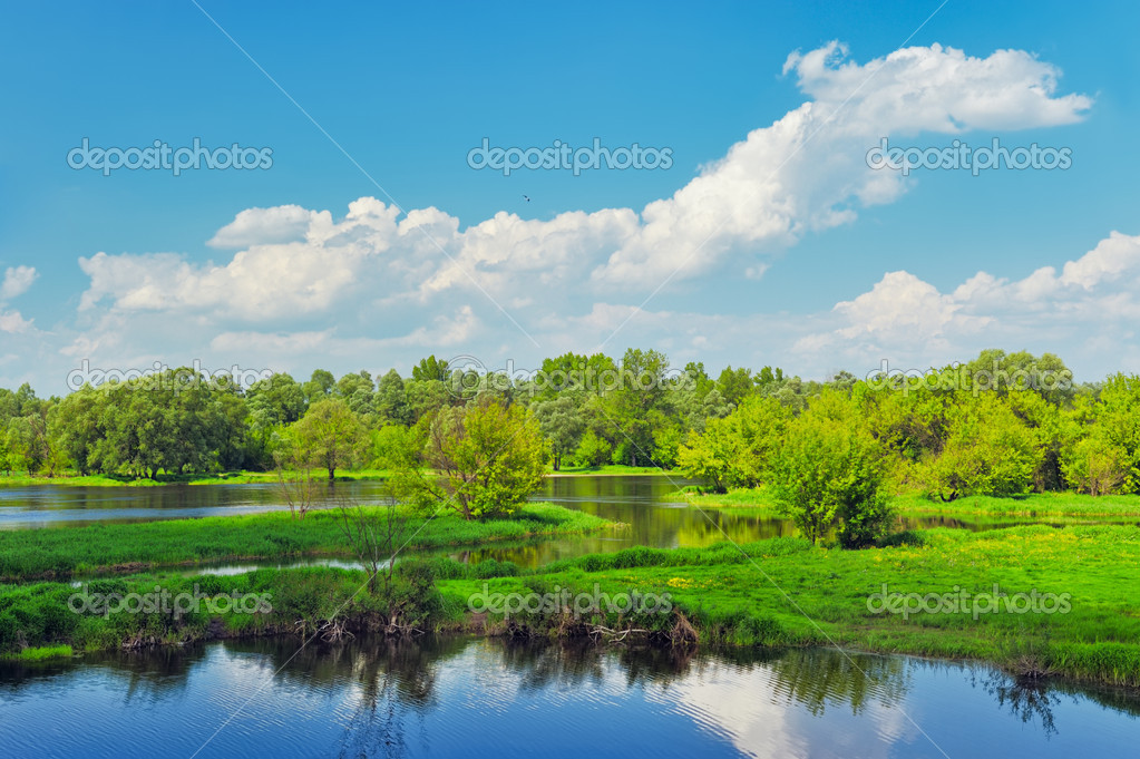 Landscape with flood waters of Narew river, Poland.