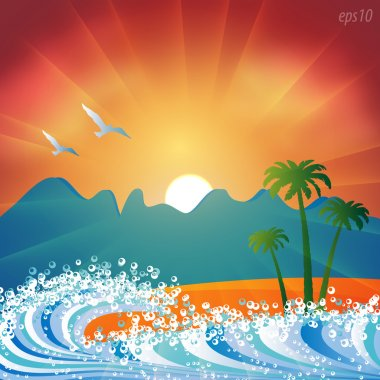 Summer holiday beach background vector