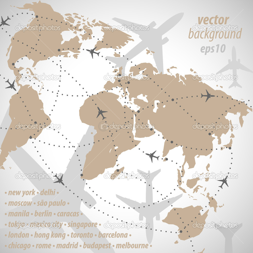 World map flight travel illustration stock vector huszkajanos world map flight travel illustration stock vector gumiabroncs Image collections