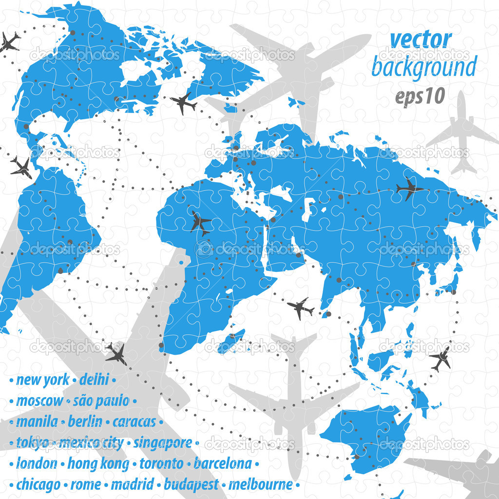World map flight travel illustration puzzle jigsaw stock vector world map flight travel illustration puzzle jigsaw stock vector gumiabroncs Choice Image