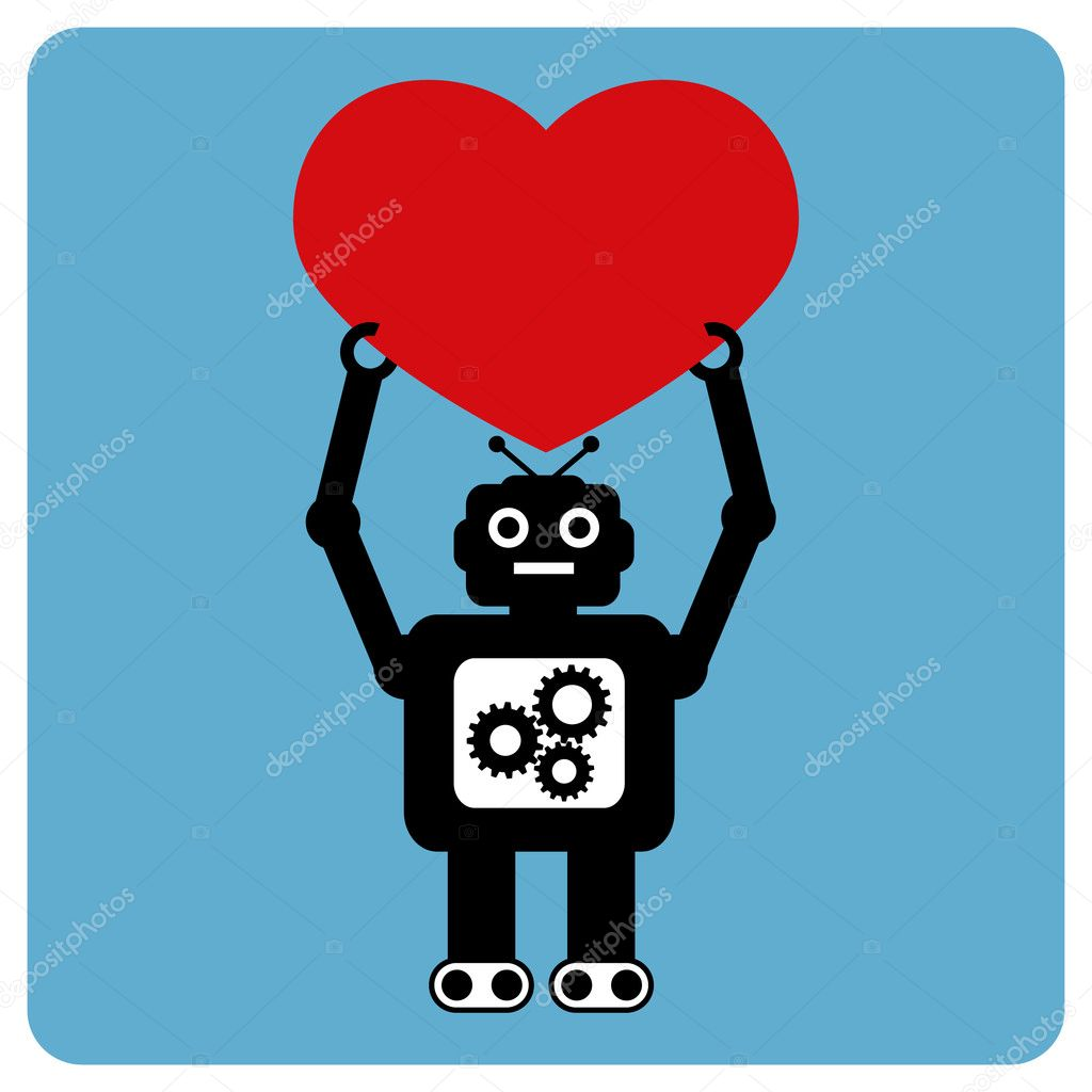 Modern robot with happy heart relationship