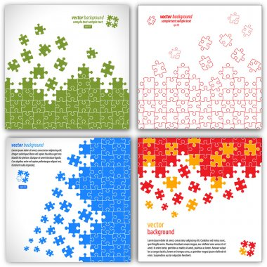 Puzzle pieces vector design set