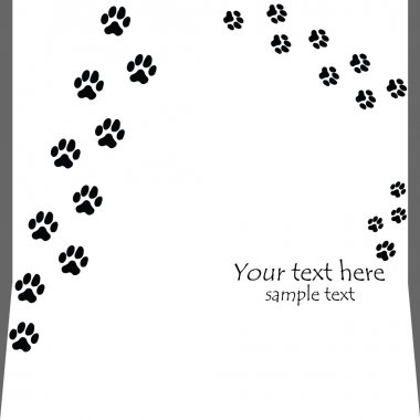 Black seamless paw prints on white backgrounds - vector