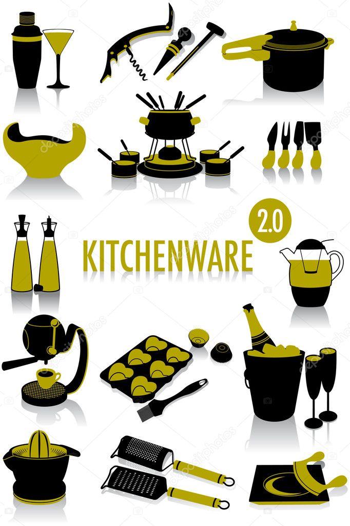 sagome di utensili da cucina 2.0 — Vettoriali Stock © antoniocau ...