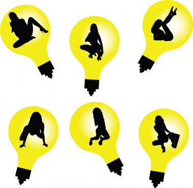 Sexy girl in bulb silhouettes