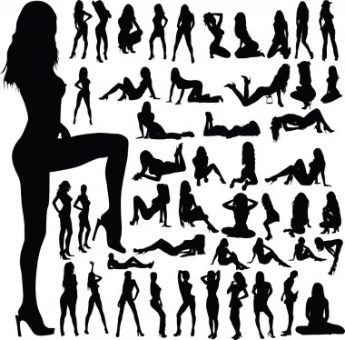 Sexy girls group silhouettes
