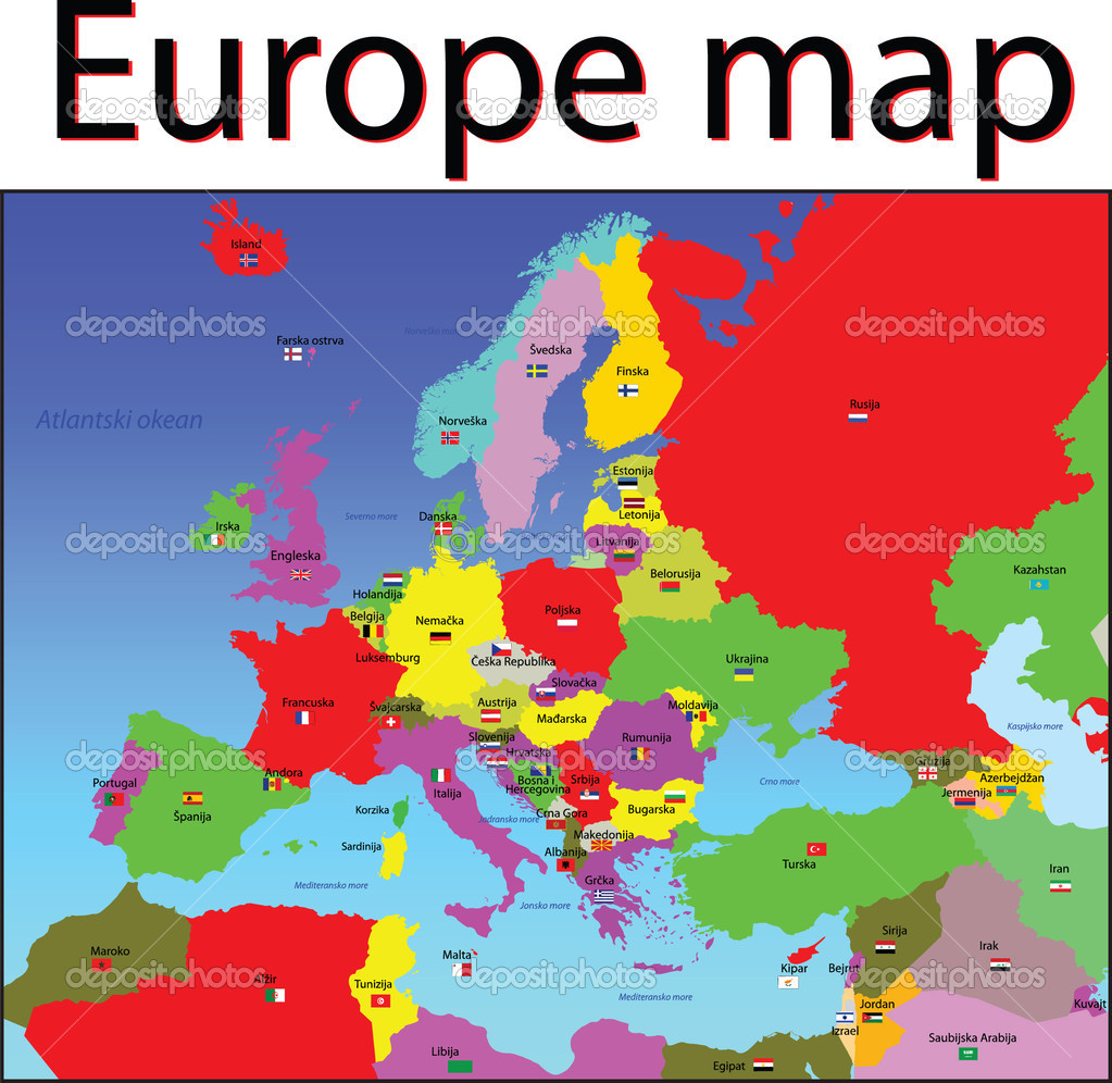 europe map and flags stock photo