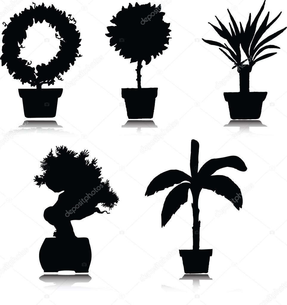 Black and white flower pots - Black Flower Pots Silhouette Illustrations On White Photo By Drgaga