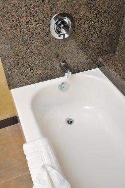 Closeup of large bathtub