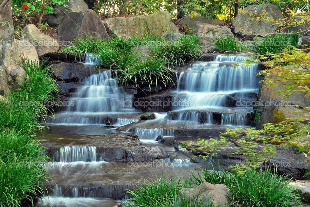 Waterfall In A Japanese Zen Garden U2014 Stock Photo