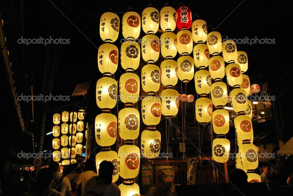 Float with lanterns during the Gion festival