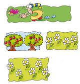 Mnozí animovaný, stromy, jablka