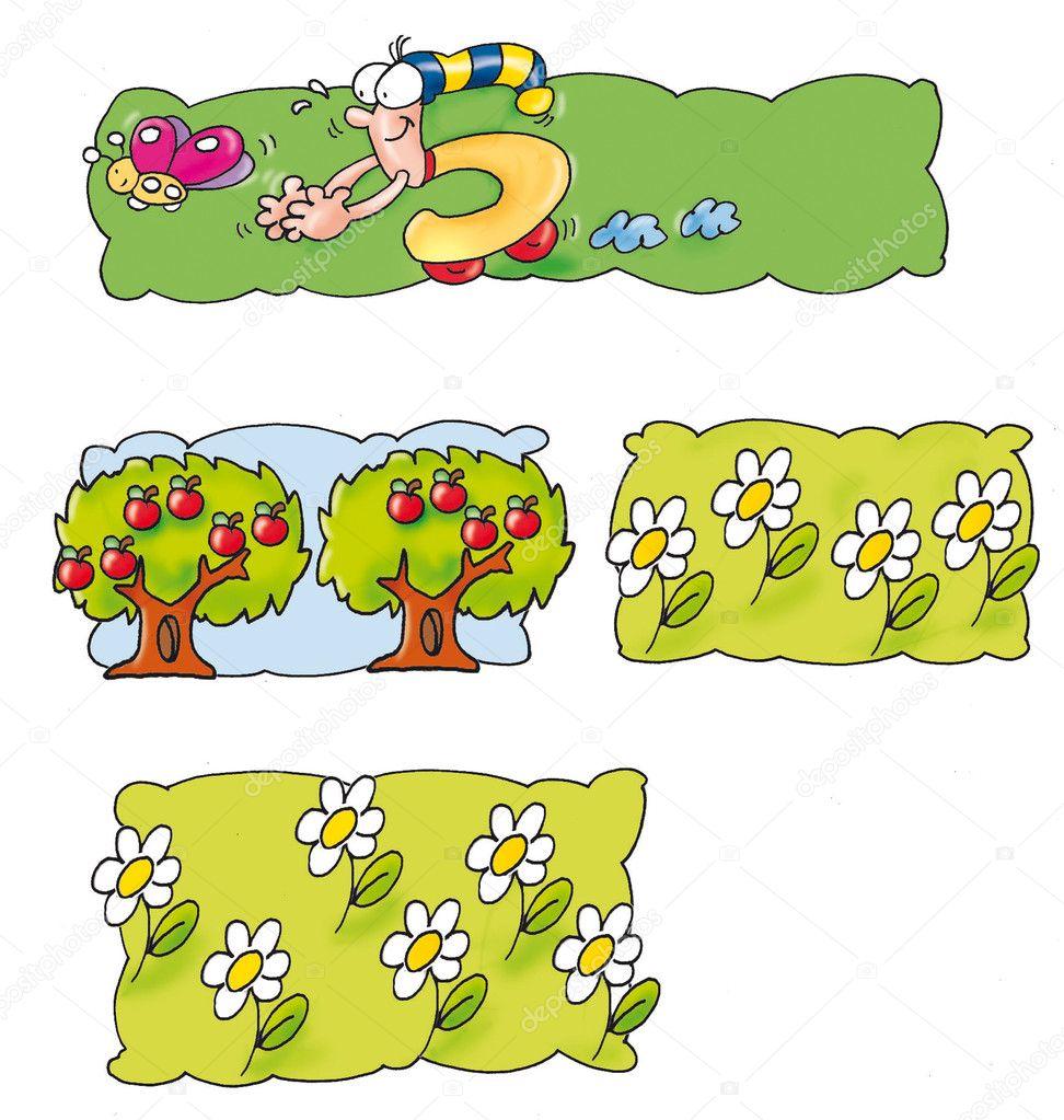 Many animated, trees, apples