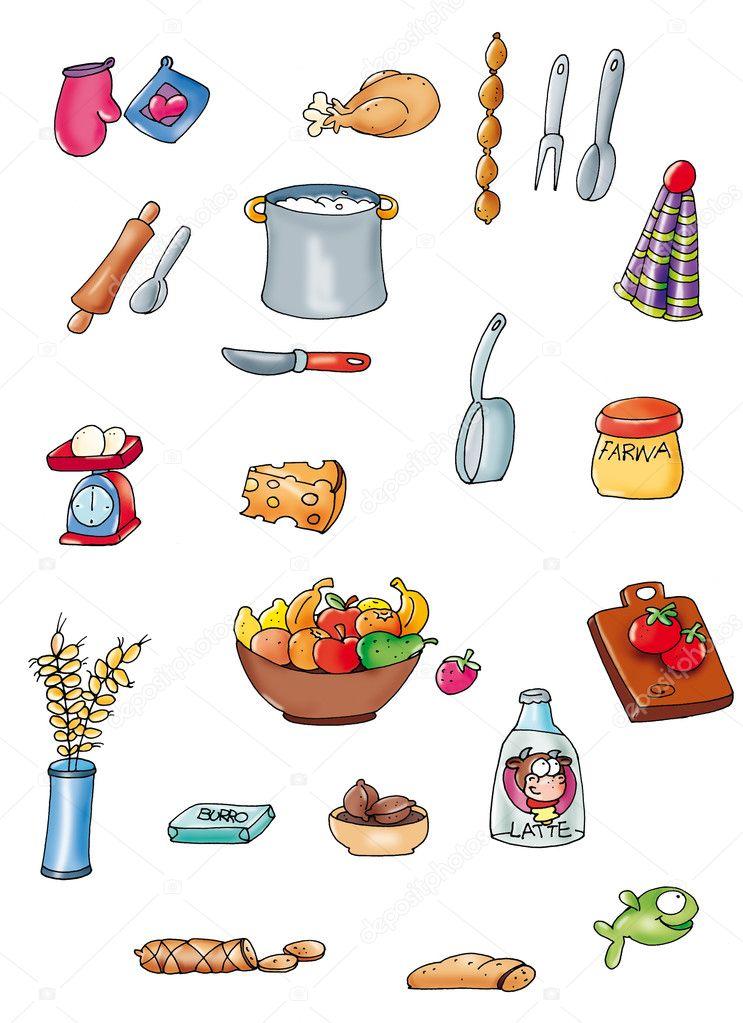 Disegni piccoli elementi scontornati colorati cucina cibo foto stock silviagaudenzi - Disegni per cucina ...