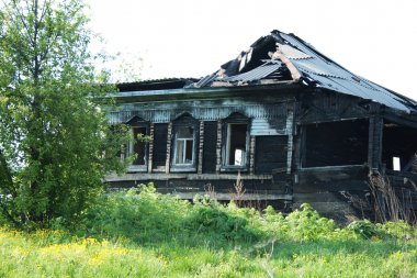 Fire consequences in the private house in village