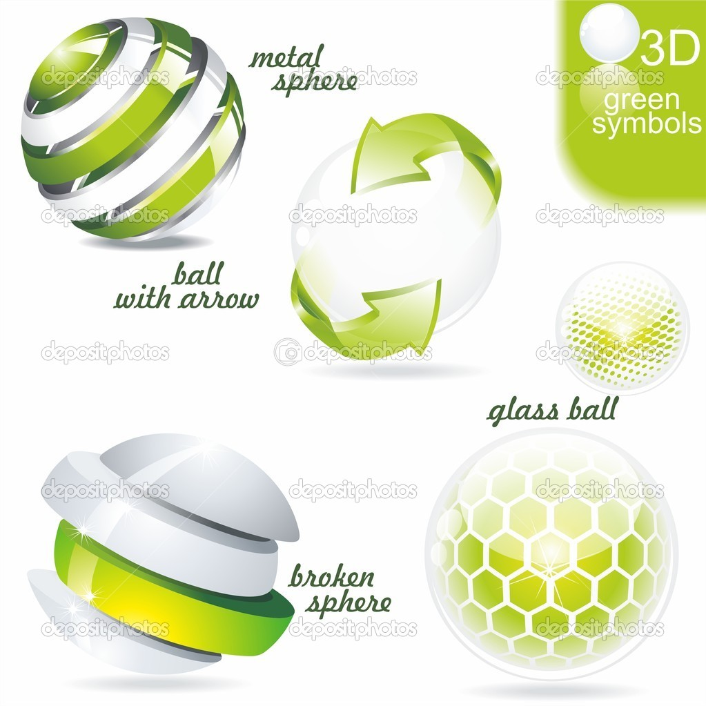 Green eco and bio symbols