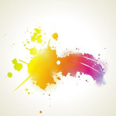 Colorful ink splash banner with leaf clip art vector
