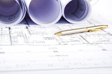 Construction plans, ball pen, business collage