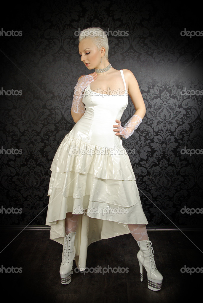 Alternative fetish pvc bride wearing wedding dress stock for Wedding dress in stock