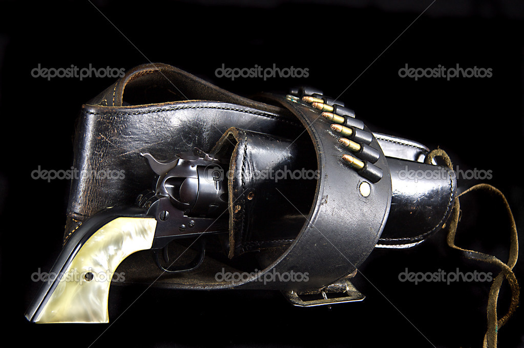 Revolver Gun in Western Holster on Black — Stock Photo