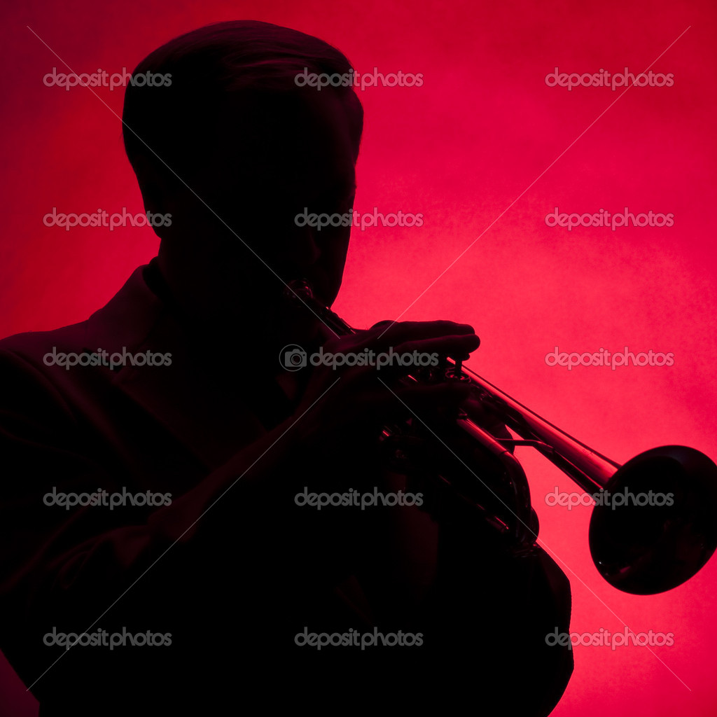 Trumpet Player Silhouette Red