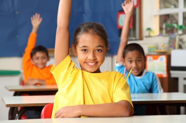 School children with raised hands in classroom