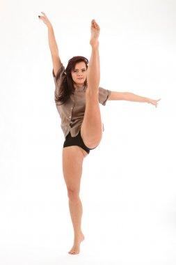 High kick dance move young girl