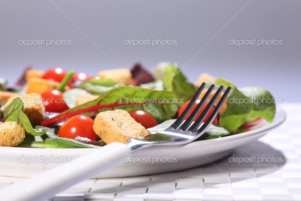 Health food green salad lunch in plate on table