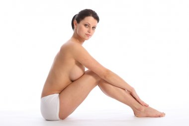 Fit body of half naked beautiful young woman