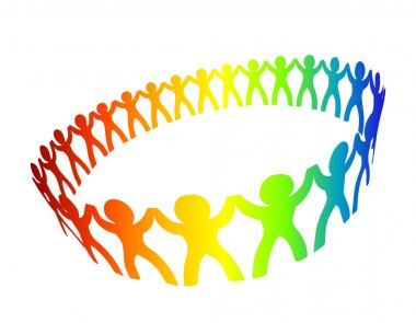 Circle of peoples for friendship or cooperation design clip art vector