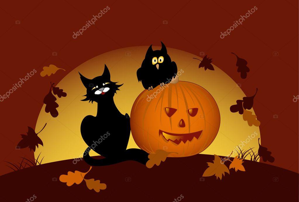 Zucca Halloween Gatto.Zucca Di Halloween E Nero Gatto Vettoriali Stock C Artness 6089484