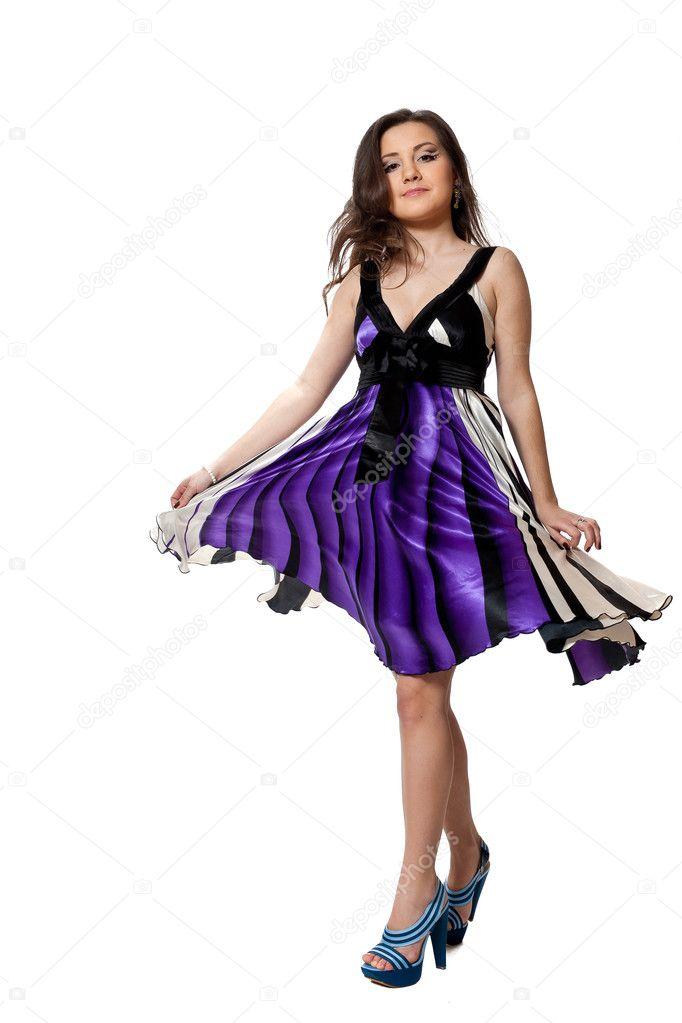 Bailando con vestido violeta — Foto de stock © iron #6502782