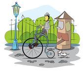 Photo Gentleman drive a retro bicycle