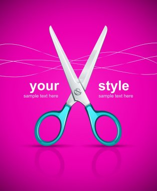 Scissors on pink background