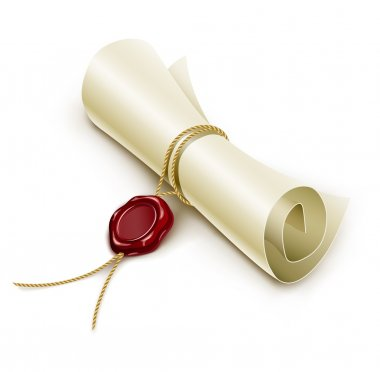 Scroll paper with seal of sealing wax