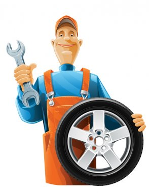 Auto mechanic with wheel