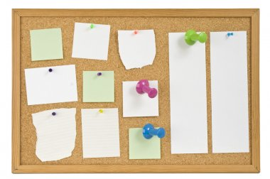 Message board with papers